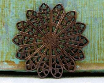 Brass Filigree Circles - 2pcs - Hand Antiqued Brass - Patina Queen
