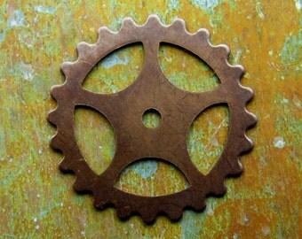 Steampunk Gear - Hand Antiqued Brass - Patina Queen - 1 Large Gear