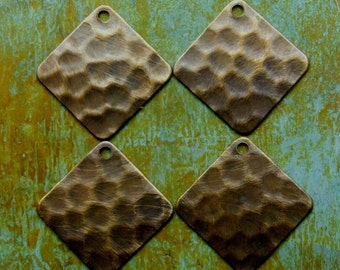 4 pcs Hammered Square Charms - Small Square Charms - Hand Antiqued Brass - Patina Queen