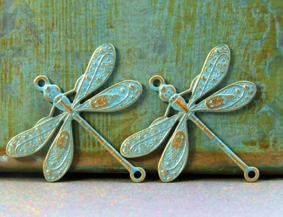 Dragonfly Connector Charms - 2 pcs - Brass Dragonfly - Sky Blue Patina - Patina Queen