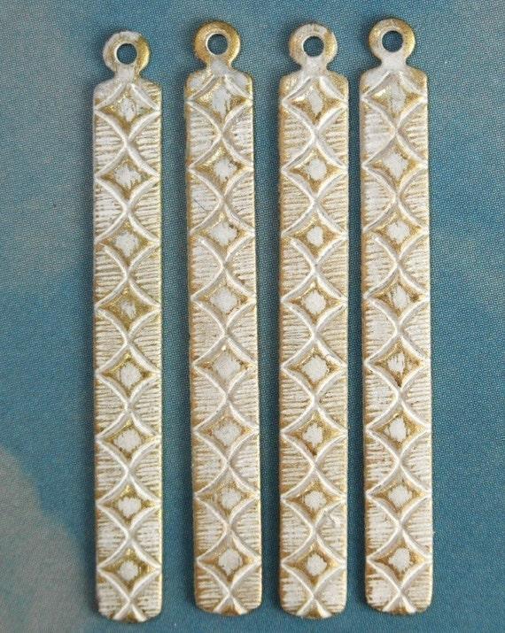 Diamond Bar Charms - 4 pcs - White Brass Patina - Art Deco Bars - Patina Queen