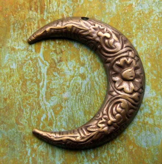 Crescent Moon Charm - Hand Antiqued Brass - Patina Queen - 1