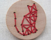 Geometric Cat Brooch: Embroidery on wood