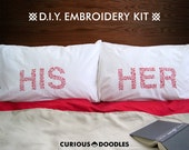 DIY HIS & HER Pillowcase Embroidery Kit