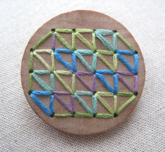 Geometric pattern embroidery on wood by curiousdoodles