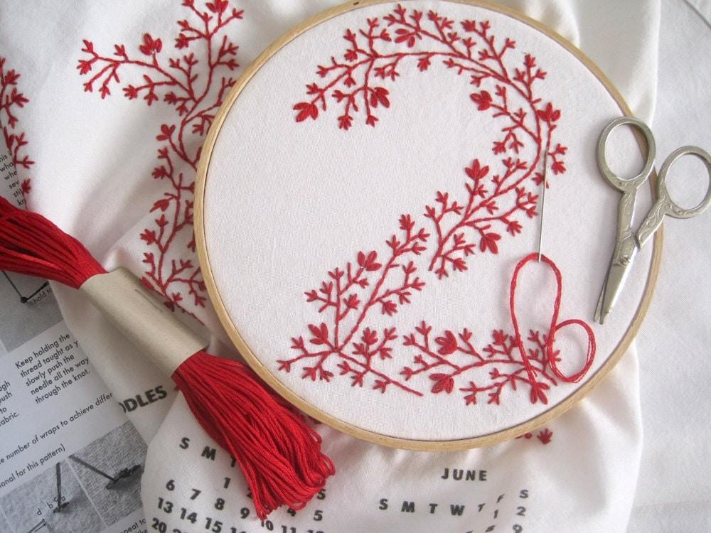 Tea towel calendar diy embroidery kit by curiousdoodles
