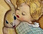 Vintage Baby Girl hugging her bunny  - Original Watercolor Print