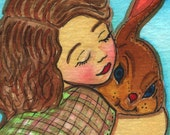 Vintage Big Sister hugging her bunny  - Original Watercolor Print