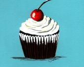 Cherry on Top Cupcake Painting Print