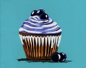 Blueberry Dream Cupcake Painting Print