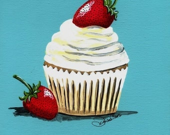 Strawberry Shortcake Cupcake Painting Print