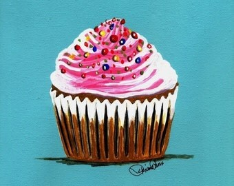 Pink Butter Cream Cupcake Painting Print