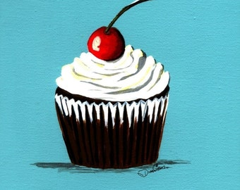 Cherry on Top Cupcake Painting Print