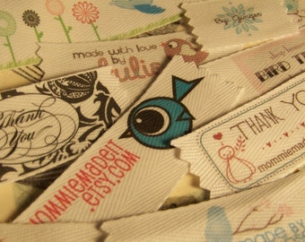 Your Custom Labels Printed in Full Color on Organic Cotton Twill Ribbon  - LOTS of Designs - No Extra Charge for Proof - 6 Yards