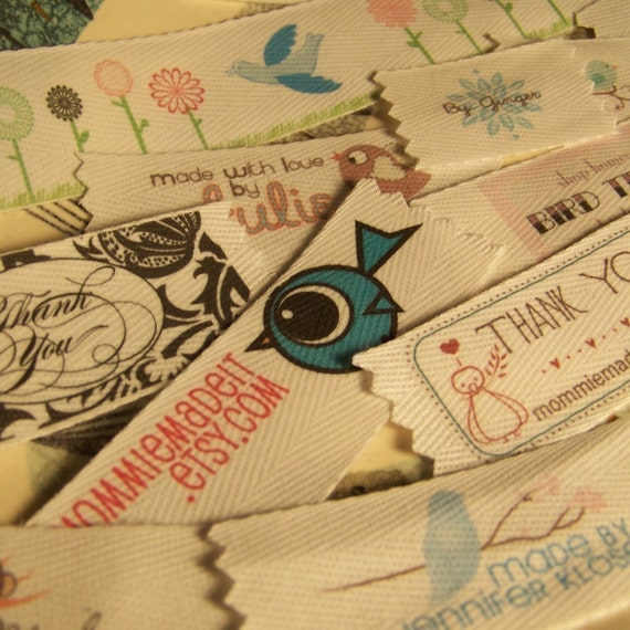Your Custom Labels Printed in Full Color on Organic Cotton Twill Ribbon  - LOTS of Designs - No Extra Charge for Proof
