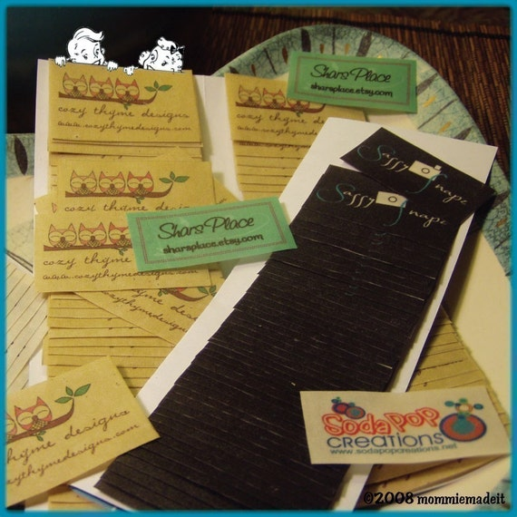 Fabric Labels - 80 Hand Crafted Sew On Cotton Fabric Custom Labels - LOTS of Designs - NO Extra Charge for Proof