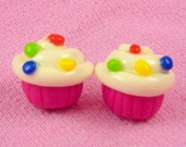 SALE -- Pink Cupcakes With White Frosting Stud Earrings