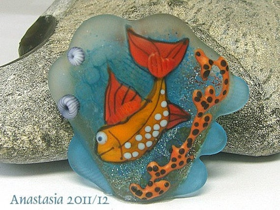HAPPY FISH...handmade lampwork bead (focal) by Anastasia...SRA...