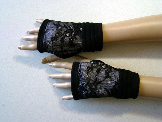 Black Lace Fingerless Gloves  White Fleece s-m