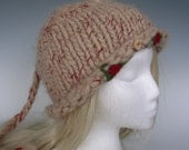 Women  Girls   SWEET SUE 100%  ALPACA hat - hand knit - rolled brim - needle felted roses and leaves