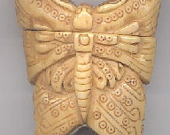 Carved Bone Butterfly Moth Inro Box Jar Very Detailed