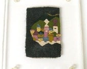 Erika Torri Small Weaving in Transparent Acrylic Floating Picture Frame - One of a Kind Wall Art