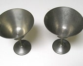 Vintage Pewter Goblets, Rustic and Retro Old Pewter Goblets,  Marked Marshall Fields.