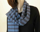 Blue Black Scarf Woven Cotton Warm Scarf Unisex Two layers French Cotton Fabric Beautiful Quality.