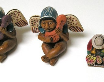 Peru Angels Ceramic Figurine Handmade, Individually Hand-Painted, early 1980s. 2 Bonus Figurines,Nice Collectibles.