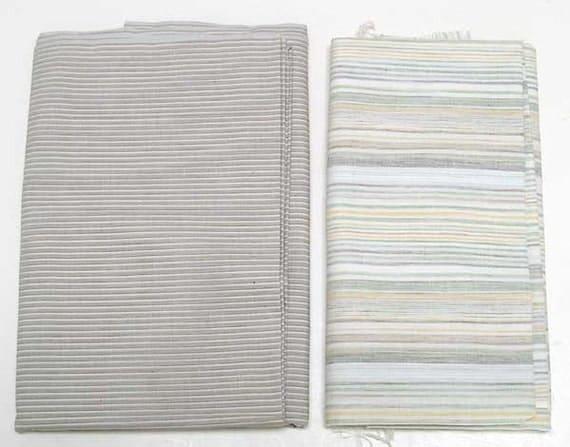 Ecru Beige Linen Fabric Cotton Yardages 1960s or 70s Light Neutral Colors Beige, Ecru Stripes