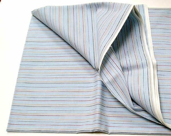 Cotton Fabric Stripes, Early 70s, Light Blue with Fine Red Yellow, Navy, Brown Lines, 88in. X 45in.