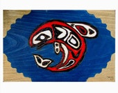Salmon box Pyrography Original Art Christmas Stocking