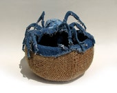 Spider Gene Therapy Upcycled Denim Gourd Bowl by Tanja Sova