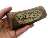 Rustic Organic Natural Magnolia Branch Welcome Small Wooden Sign by Tanja Sova