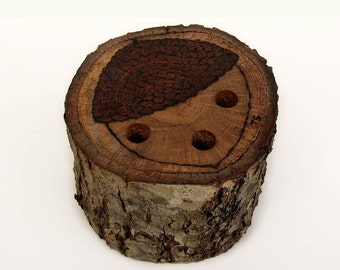 Quercus 1980 Branch No2: Rustic Natural Oak Wood Pencil Holder With Acorn Top by Tanja Sova