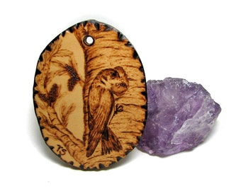 Pyrography Original Art Tree Swallow - Tachycineta bicolor pendant by Tanja Sova