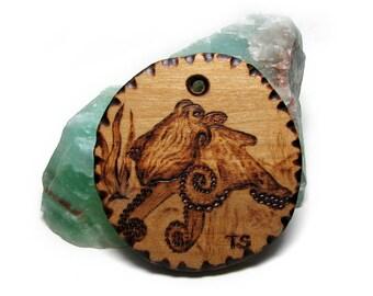 Pyrography Original Art Octopus pendant by Tanja Sova