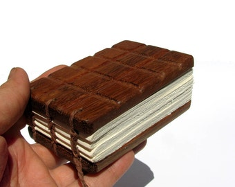 Melt Proof Chocolate Sandwich Notebar - Rosewood Hand Carved Mini Journal - Notebook - Wedding Guestbook by Tanja Sova