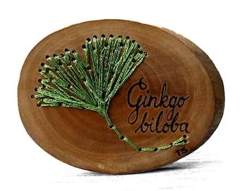 Embroidered Green Ginkgo biloba Leaf On a Rustic Bradford Pear Twig Slice Brooch - Pin by Tanja Sova