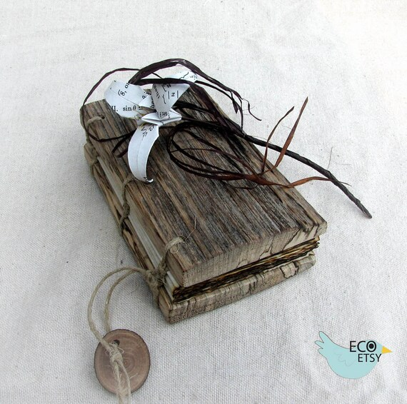 Adorable Barn Wood Rustic Mini Journal With Burned Paper Edges by Tanja Sova