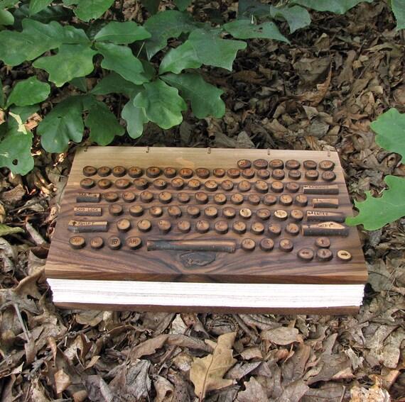 Ultimate Geekery Laptop Keyboard Wedding Guestbook / Journal /Album - Organic Natural Rustic Walnut by Tanja Sova