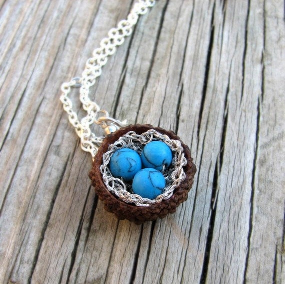 Quercus Acorn Robin Nest Silver Necklace by Tanja Sova