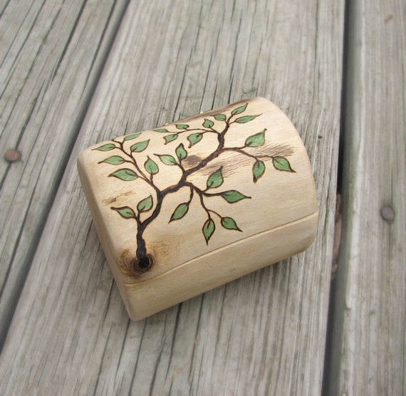Flawless Imperfection No9 - Rustic Natural Sycamore Wooden Ring or Trinket Box by Tanja Sova