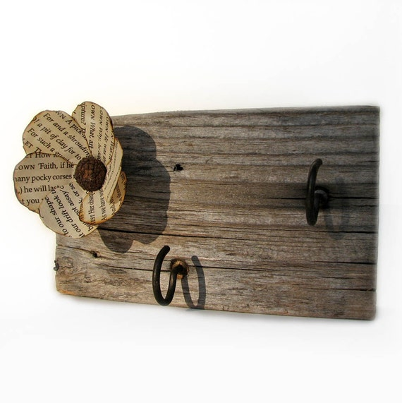 Rustic Barn Wood Upcycled Key Rack, Jewelry, Kitchen Rag Holder by Tanja Sova