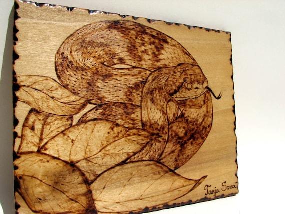 Pyrography Original Art Copperhead snake Agkistrodon contortix by Tanja Sova