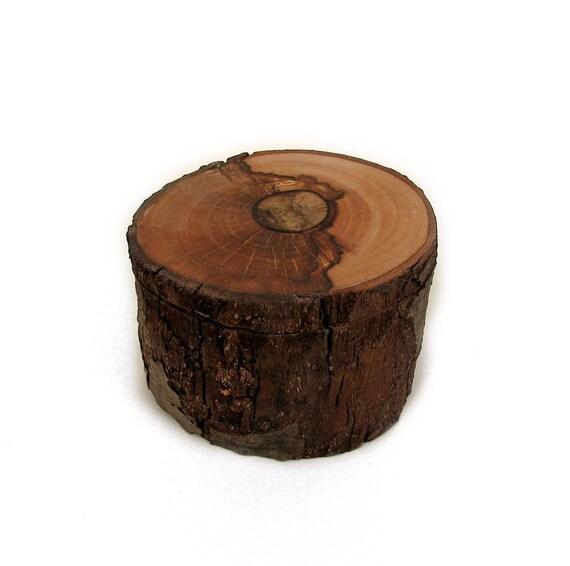Yin Yang Chocolate Mocha Natural Log Rustic Ring or Trinket Box by Tanja Sova