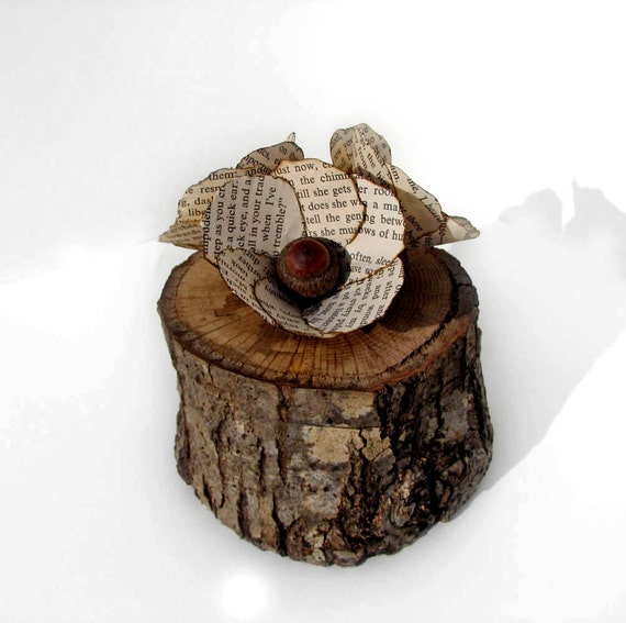 Jane Eyre Acorn 27 y/o Branch Rustic Natural Oak Quercus Wooden Ring Trinket Box by Tanja Sova