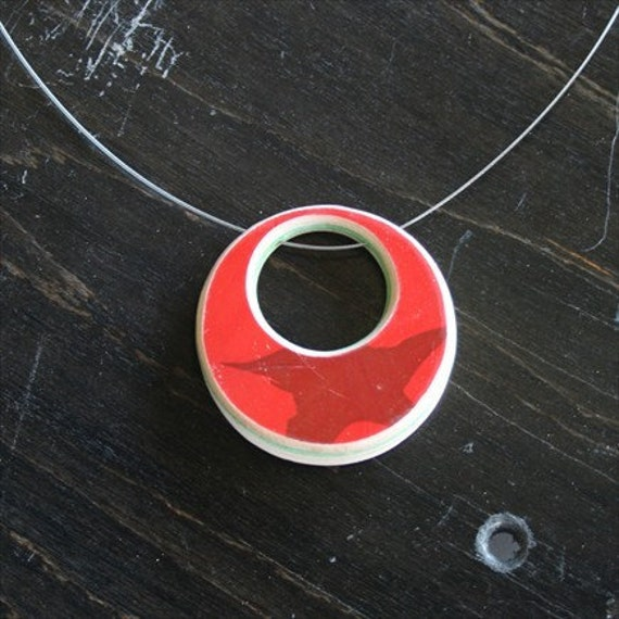 SALE - Recycled Skateboard Necklace - Reversible 2in1 Circles - small