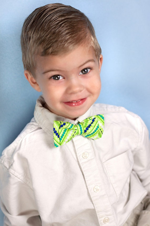 Ready to ship Boy lime green and blue bow tie size 5 to 9 years od