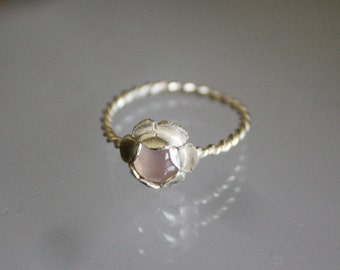 Sterling Silver Flower Ring w/ Stone Setting
